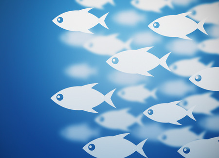 school of fish: fish sea blue background Stock Photo