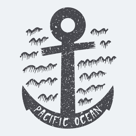 pacific: Pacific ocean anchor Illustration
