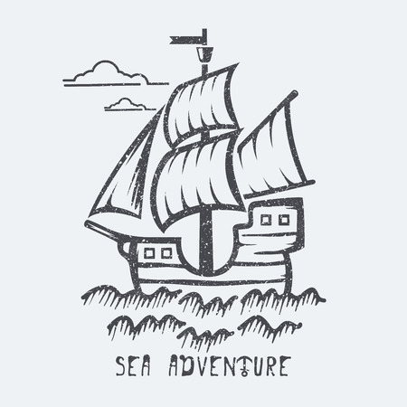 Sea adventure of ship Stock Vector - 43796995