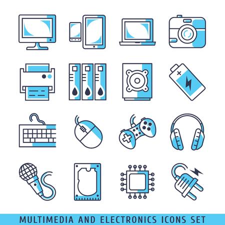 Multimedia ed elettronica icone set linee illustrazione vettoriale blu Vettoriali