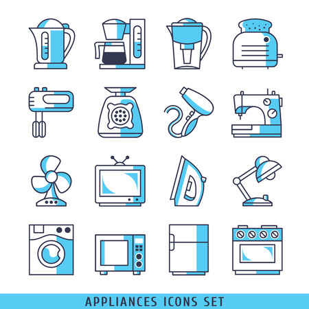 water filter: Appliances icons set lines blue color vector illustration