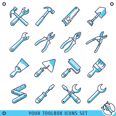 platen: Your toolbox icons set lines vector illustration
