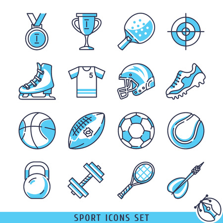 rugger: Sport icons set lines vector illustration