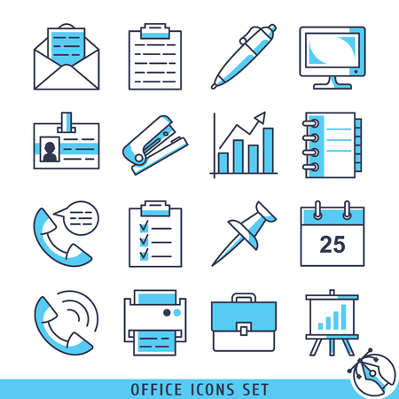 bag icon: Office icons set lines vector illustration Illustration