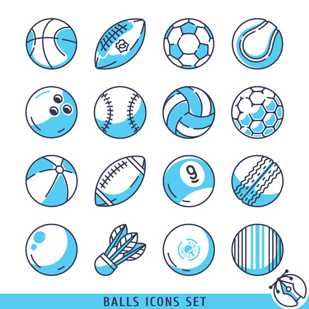 rugger: Balls icons set vector lines  illustration Illustration