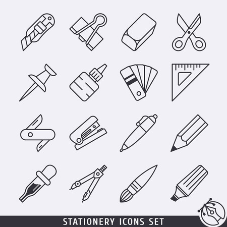lineart: Stationery icons set black and white lineart Illustration