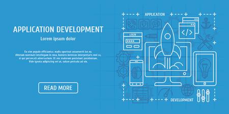 web development: Application development. Vector illustration for web design. Illustration