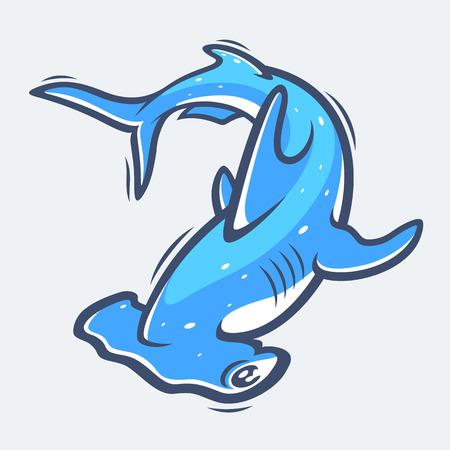 pez martillo: Hammerhead shark sea life illustration Vectores