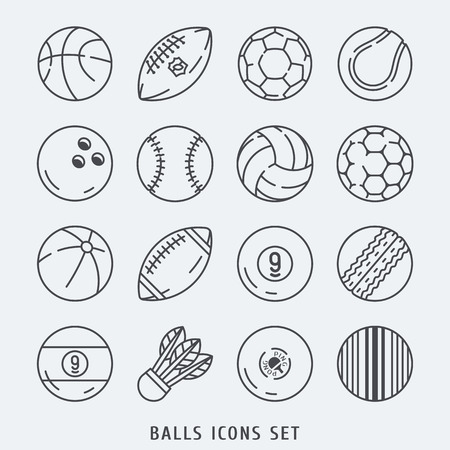 rugger: Balls icons set  lines  illustration black and white