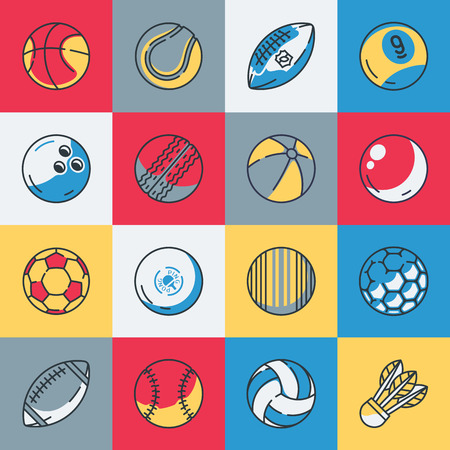 rugger: Sport balls icons set illustration