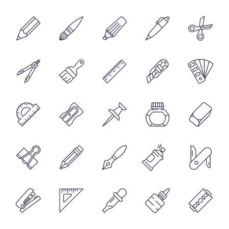 design tools: Stationery tools icon set, thin line style, flat design illustration.