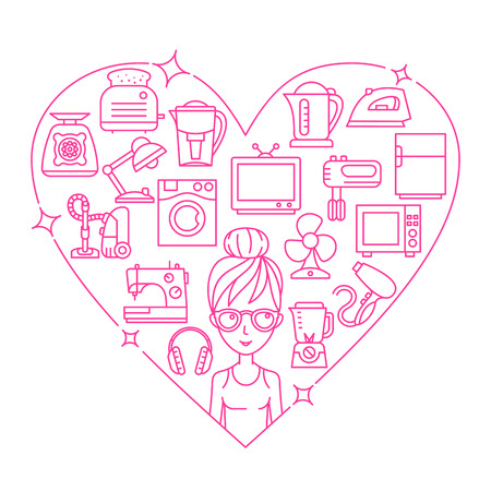 major household appliance: Appliances and woman frame heart illustration thin line flat