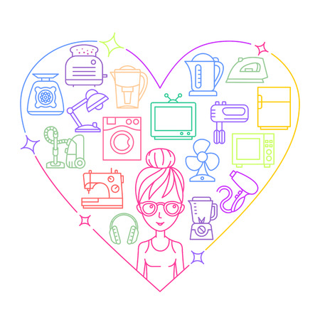 major household appliance: Appliances and woman colored frame heart illustration Illustration