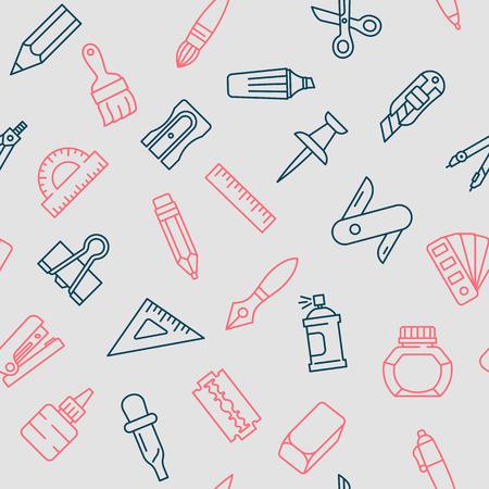 편지지 도구 원활한 패턴, 선 스타일, 플랫 디자인 일러스트 레이 션.