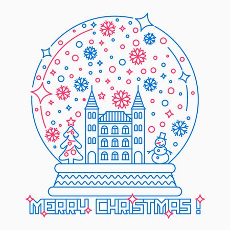 크리스마스 스노우 글로브 얇은 라인 스타일 그림입니다.