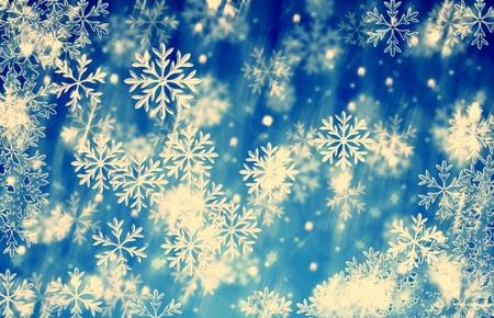 메리 크리스마스와 행복 한 새 해 배경 파란색 얼음 눈송이 빈티지