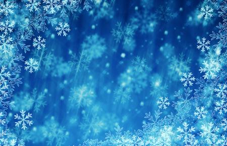 크리스마스와 새해 복 많이 받으세요 푸른 얼음 눈송이 스톡 콘텐츠