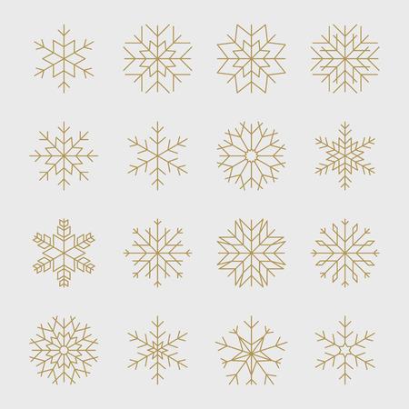 크리스마스 디자인 골드 형상 눈송이의 집합입니다. 일러스트