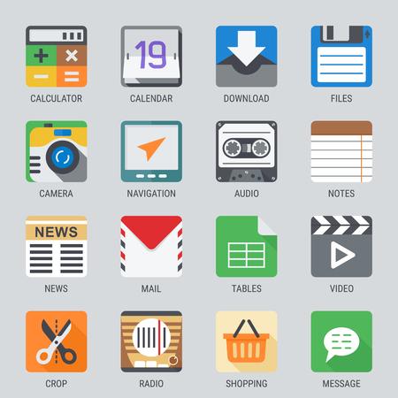 웹 및 모바일 응용 프로그램 플랫 아이콘을 설정합니다. 오디오, 비디오, 사진 등. 일러스트