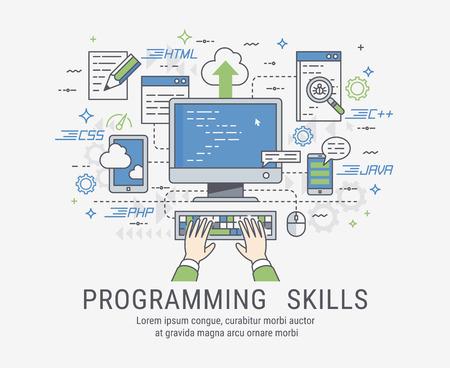 프로그래밍 및 코딩 기술. 웹 사이트 개발 및 디버깅. 라인 아트 벡터 illistration입니다. 일러스트