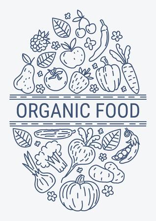 건강한 유기농 에코 채식 음식 디자인 벡터 템플릿입니다. 농장 야채 개념의 생태 건강은 친환경 유기 신선한. 일러스트