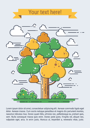 tree line: Stylized vector tree. Line art template for your design.