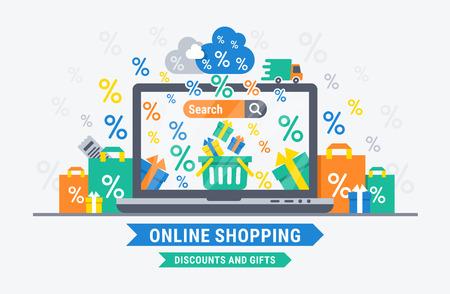 온라인 쇼핑 할인 및 선물. 웹 디자인을위한 벡터 평면 그림입니다. 일러스트