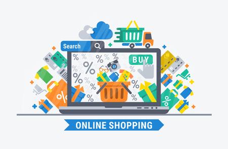 온라인 쇼핑. 웹 디자인을위한 벡터 평면 그림입니다.