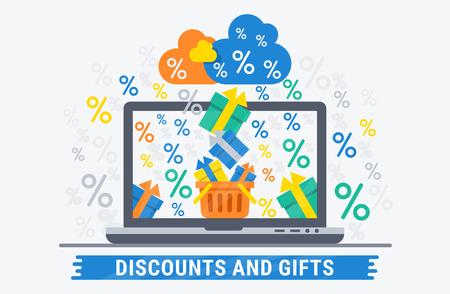 온라인 쇼핑 할인 및 선물. 웹 디자인을위한 평면 그림입니다. 일러스트