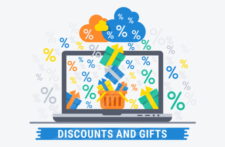 web shopping: Online shopping discounts and gifts. Flat illustration for web design.