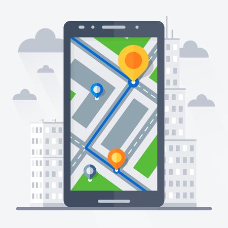 모바일 GPS 네비게이션과 전화. 배경에시. 평면 벡터 일러스트 레이 션입니다.