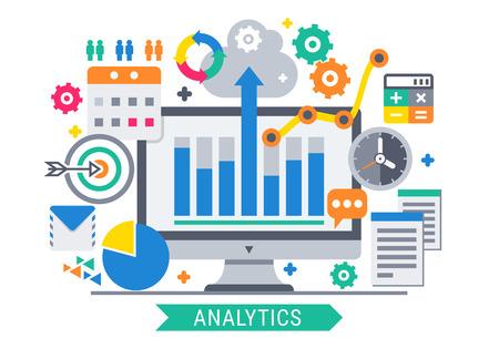 Concetto moderno dell'illustrazione di vettore di progettazione piana degli strumenti di informazioni di analisi dei dati del sito Web. Vettoriali