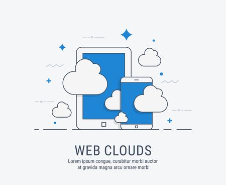 웹 구름. 웹에 대 한 평면 현대 벡터 일러스트 레이 션. 일러스트