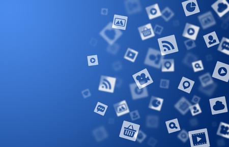 인터넷 미디어 아이콘 파란색 배경 디자인을위한