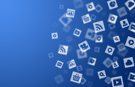 Internet media icons blue background for your design