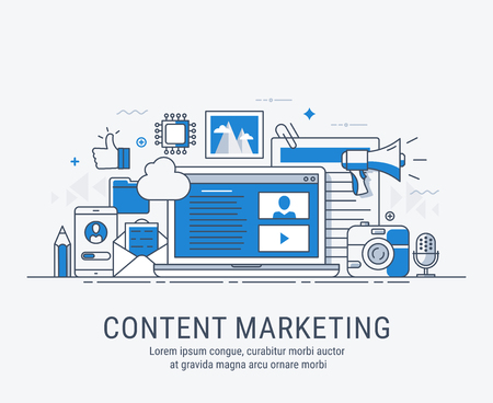 Vector illustration of digital content marketing concept for website banner and landing page