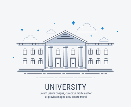 University, college, academy or school building in modern style illustration. Illustration