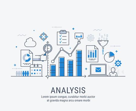 Modern thin line design for analysis website banner. Vector illustration concept for business analysis. Ilustrace