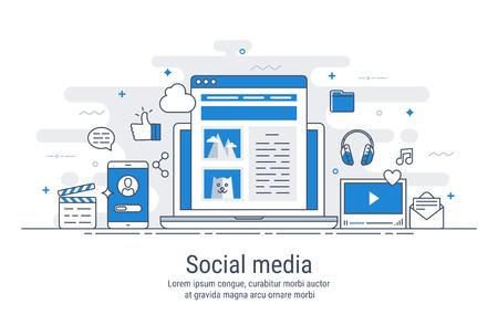 Social media. Flat design modern vector illustration concept. For web design.