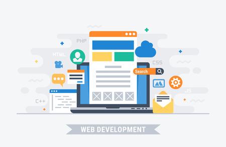 Web development. Flat design modern vector illustration concept.