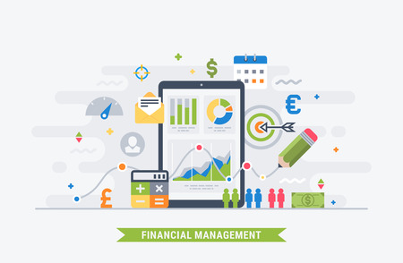 Financial management and analytic. Modern flat illustration for web. Çizim