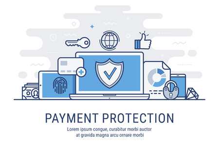 Secure transactions and payments protection. Vector illustration modern  thin line design. Ilustrace