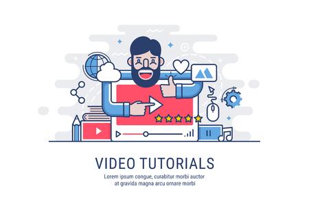 Video tutorial. Modern flat vector illustration for web.