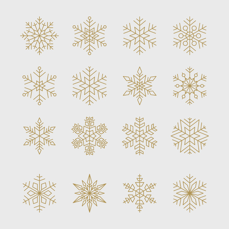 Set of minimal geometric golden snowflakes for Christmas and new year design. Ilustrace