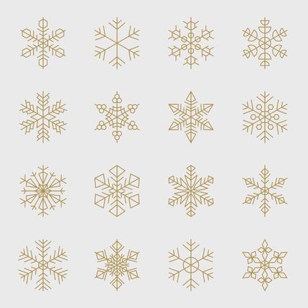 크리스마스와 새 해 디자인에 대 한 최소한의 형상 황금 눈송이의 집합입니다. 일러스트