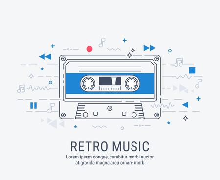 Audio cassette modern line art style vector illustration. 일러스트