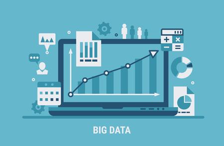 Big data analyzing. Flat modern vector illustration for web design.