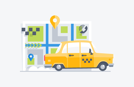 Car taxi on the map background. Flat modern vector illustration.