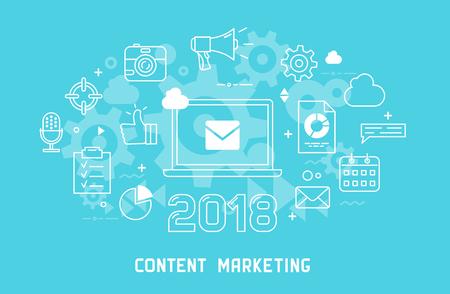 Content marketing thin line modern illustration for web design. 스톡 콘텐츠 - 102253522