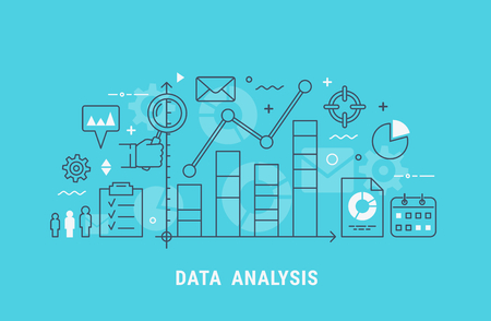 Data analysis thin line flat modern vector illustration for web design. 스톡 콘텐츠 - 102156882